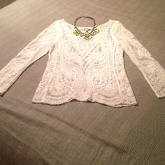Express Lace Top Great trendy top! White lace with scoop neck detail. Looks great with skinnies or a pencil skirt. Was only worn twice, in perfect condition. Not even sure I want to part with it, so the right offer could make the difference! Comes from a smoke free home, can be modeled upon request! Express Tops