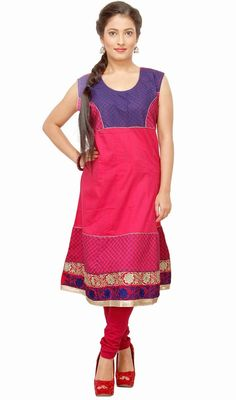 Look awesome dressed up in this fuchsia and blue shade cotton kurti. The lace and resham work appears to be chic and perfect for any celebration. #LatestClassicalKurtis