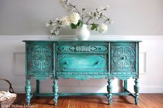 SOLD!!!! - Antique Jacobean Hand Painted French Country Cottage Chic Victorian Distressed Weathered Turquoise / Aquamarine Buffet Sideboard