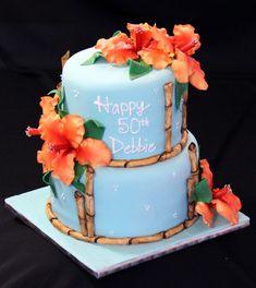 hawaiian+birthday+cakes | hawaiian birthday cake hawaiian themed birthday cake all flowers and ...