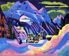 Ernst Ludwig Kirchner, Davos im Schnee, 1923  Tags: #german expressionism #expressionism