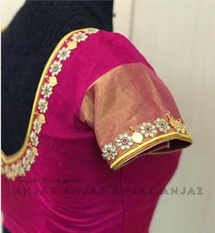 Gotapati and kasu !! Beautiful rani pink color designer blouse with flower design hand embroidery gotapati work.    22 September 2017