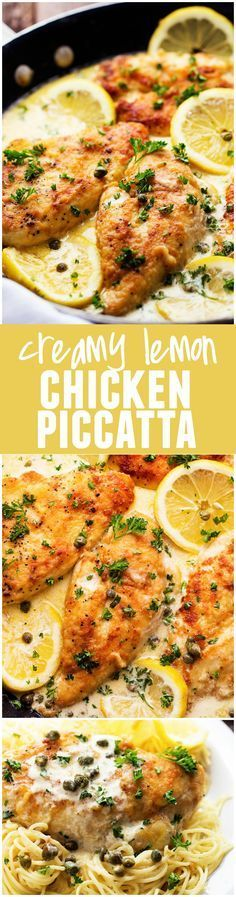 Love Chicken Piccatta and this one has a creamy sauce!This Creamy Lemon Chicken Piccatta is an amazing one pot meal that is on the dinner table in 30 minutes! Lemon Chicken Piccata, Creamy Lemon Chicken, Creamy Chicken Piccata Recipe, Lemon Chicken In Crockpot, Chicken Tenderloin Recipes Healthy, Lemon Caper Chicken, Creamy Chicken Pasta, Chipotle Chicken, Pasta Dishes