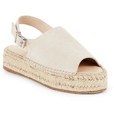 J/SLIDES Rachell Peep-Toe Leather Espadrilles Sandals ($50) ❤ liked on Polyvore featuring shoes, sandals, leather flatform sandals, leather espadrille sandals, leather shoes, peep toe slingback sandals and beige sandals
