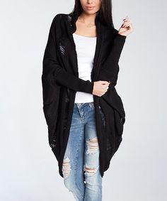 Fobya Black Dolman Open Cardigan - Women | Best Price and Reviews | Zulily Open Front Cardigan, Winter Wardrobe, Cardigans For Women, Pulls, Black Stripes, Amazing Women, Wool Blend, Sweater Cardigan, That Look