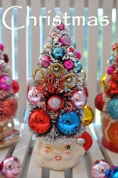 kitsch santa bottle brush tree christmas