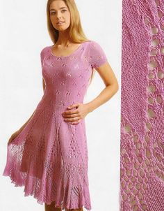 Abito con gonna ajour Wool Dress, Knit Dress, Lace Knitting, Knit Crochet, Lace Patterns, Knit Skirt, Sweater Fashion, Crochet Clothes, Girl Fashion
