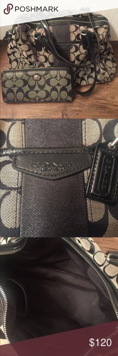 """Coach purse & wallet bundle! This Coach purse & wallet 👛 bundle is adorable! Great condition. No rips, no tears. Smoke free. Authentic. ID #:  D1480-F28505. Dimensions: 12"""" x 9"""" x 5"""" Coach Bags"""