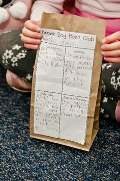 Brown Bag Book Club... have the kids write about book on comprehension worksheet that is attatched to the brown bags. Before kids split up into groups to share, fill it with popcorn for snacking.