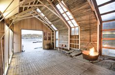 Striking Rustic Boathouse Made With Reclaimed Materials in Norway Naust Paa Aure by TYIN tegnestue – Inhabitat - Green Design, Innovation, Architecture, Green Building Ideas Cabaña, Architecture Design, Building A Container Home, House In The Woods, New Homes, Cottage, Cabin, House Styles, Boat House