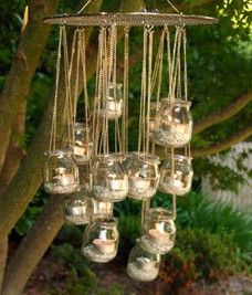 garden chandelier from jam jars