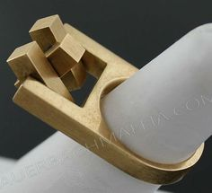 Hans Hansen - 14k Gold Modernist Kinetic Ring, 1960, Denmark -- Fantastic!