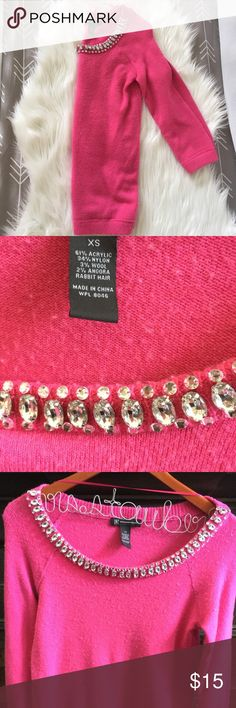 INC Jeweled 3/4 Sweater XS Beautiful sweater never worn but washed it's an extremely soft furry warm sweater with an elegant pop ❤️ All of my items are from a non smoking pet free home 😊 INC International Concepts Sweaters Crew & Scoop Necks