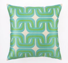 Geo Links Embroidered Pillow in Blue Green by Trina Turk NEW Modern Throw Pillows, Designer Throw Pillows, Decorative Throw Pillows, Kids Furniture, Luxury Furniture, Green Pillows, Trina Turk, Floor Pillows, Blue Green