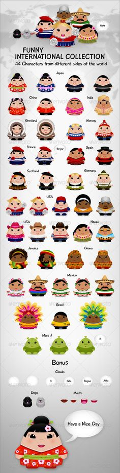 VECTOR DOWNLOAD (.ai, .psd) :: http://sourcecodes.pro/pinterest-itmid-1000160901i.html ... International Collection ...  africa, america, asia, characters, cute, dogs, europe, funny, international, international characters, multicolor, people, sweet, world  ... Vectors Graphics Design Illustration Isolated Vector Templates Textures Stock Business Realistic eCommerce Wordpress Infographics Element Print Webdesign ... DOWNLOAD :: http://sourcecodes.pro/pinterest-itmid-1000160901i.html