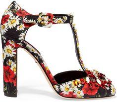 Dolce & Gabbana Crystal-#embellished printed brocade Mary Jane pumps #fashion