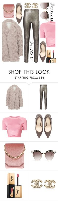 """""""Fuzzy Coats"""" by blackadonia ❤ liked on Polyvore featuring Maison Margiela, Intermix, T By Alexander Wang, Zara, Cafuné, Gucci, Yves Saint Laurent, Chanel, Trendy and fuzzycoats"""