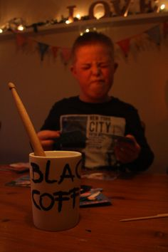26 January - It was his birthday, but he didn't like birthday pictures, with my Black Coffee mug...
