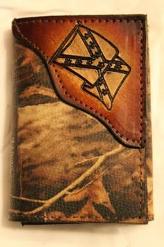 Trifold with Handtooled Rebel Flag in Advantage Timber RealTree Camo Leather
