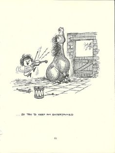 Thelwell's Original Vintage Pony Horse Mount Cartoon Print 1964 Comical - Try to keep him entertained.