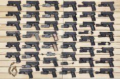 Handguns. Lots of them.