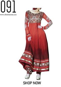 Buy Latest Red Anarkali Suit at Ohnineone