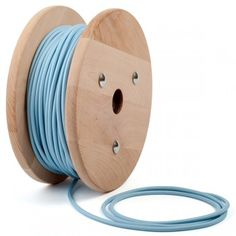 Pastel baby blue round textile cable by Cablelovers