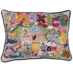 Hand Embroidered CatStudio Mexico Pillow