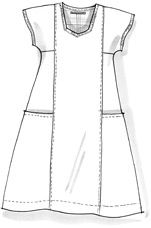 linen dress - inspiration; the link isn't there anymore    Center panel begs for embroidery. Maybe along the top of the pockets, neckline, sleeves, too... It's a kirtle pattern done short, with pockets.