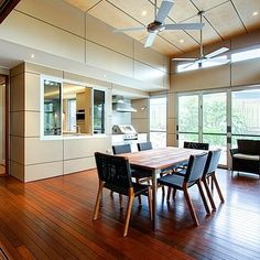This Indooroopilly home renovation transformed a post-war house into a wonderful contemporary home with functional, sophisticated & sustainable architecture Sustainable Architecture, Architecture Design, Case Study Design, Bungalow Renovation, Australian Architecture, Wall Cladding, Dining Room Design, Decoration, Interior Design