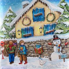 And it is finished ⛄️❄️⛄️❄️⛄️❄️#cocotxmas #romanticcountrycoloringbook #festivecoloralong #snow#christmas #snowman#prismacolor