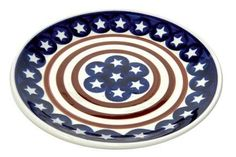 Polish Pottery Stars and Stripes Dessert Plate ** Insider's special offer that you can't miss
