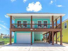 Rental in Texas Gulf Coast from Stilt House Plans, House On Stilts, Coastal House Plans, Beach House Plans, Beach Cottage Exterior, Bamboo House Design, Raised House, Small Beach Houses, Carriage House Plans