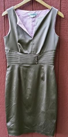 KAY UNGER Dark Taupe Putty Brown Satin Fitted Sleeveless Dress Pink Lining Sz 8 #KayUnger #Sheath #Cocktail