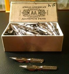 Vintage Anglo American A18 Dip Pen Nibs Original Box 130 Pieces Pittsburgh Pa