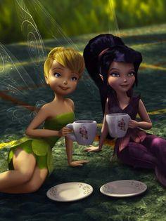 Tinkerbell and Vidia Disney Pixar, Disney Icons, Disney Cartoons, Disney Animation, Disney Art, Tinkerbell Wallpaper, Wallpaper Iphone Disney, Cute Disney Wallpaper, Iphone Backgrounds