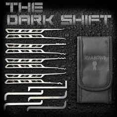The Dark Shift You don't always know what conditions you will be working under. The Dark Shift is built for these extreme environments and conditions. With cutout ports that allow for a firmer grip and landmarking you can even operate this set while wearing gloves. The selection of eight picks is evenly balanced with both modern rakes and hooks. $49 http://www.sparrowslockpicks.com/product_p/new2.htm