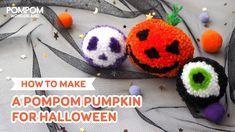 DIY Tutorial - How to Make A Pompom Pumpkin for Halloween - ポンポンの作り方 - Hướng dẫn làm pompom bí ngô Pom Pom Animals, How To Make Pumpkin, Handmade Christmas Decorations, Christmas Knitting, Halloween Pumpkins, Diy Tutorial, Etsy Store, Minis, Crochet Earrings