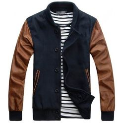 Navy Brown Baseball Jacket. Great for a spring casual outing