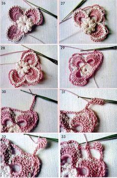 Crochet.  Motivos florais.  Classe Mestre