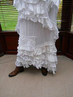 Snow Pearl Linen Vintage Lace Boho Hippy Gypsy  Lagenlook Long Asymmetric Skirt OSFM w/ RITANOTIARA Magnolia Bow