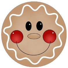 CHRISTMAS GINGERBREAD FACE CLIP ART