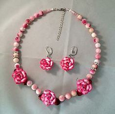 Newly Listed! Pink White Jade Rhinestone Floral Necklace Earring.  See matching bracelets, too.
