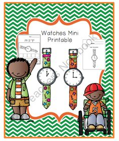 Free Watch Mini Printable from Preschool Printables on TeachersNotebook.com -  (6 pages)  - Cut-Color-Paste