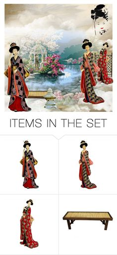 """Geishas In The Garden!"" by bevmardesigns ❤ liked on Polyvore featuring art, japan and geisha"