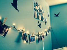 tumblr room | Tumblr make a photo string and cut out templates to paste on the wall to get the birds look up on google bird shadows Tumblr Bedroom, Tumblr Rooms, Teen Bedroom, Bedroom Decor, Bedroom Ideas, Bedrooms, Teen Rooms, Wall Decor, Bedroom Inspo