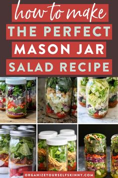 """How To Make the Perfect Salad in a Jar Recipe! Healthy Lunch Recipes - Learn to make the perfect mason jar salad with this """"how-to"""" tutorial. Mason jar salads, or often called salad in a jar, are the ultimate meal prep recipe! You can prepare five mason jar salads on Sunday to enjoy a healthy lunch all week. Organize Yourself Skinny   Healthy Salad Recipes   Healthy Meal Prep   Meal Prep for Beginners   How To Lose Weight   Weight Loss Recipes   Healthy Summer Recipes Quick Healthy Lunch, Healthy Freezer Meals, Healthy Summer Recipes, Healthy Salad Recipes, Healthy Cooking, Lunch Recipes, Cooking Tips, Keto Recipes, Mason Jar Meals"""