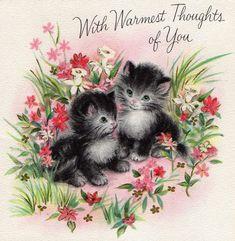 vintage Hallmark friendship card kittens