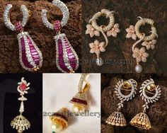 Jewellery Designs: Latest Diamond Jhumkas and Hangings