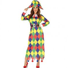Disfraz de Arlequín Multicolor para mujer #disfraces #carnaval #novedades2019 Harlequin Costume, Neon Lipstick, Party Themes, Themed Parties, Adult Costumes, Fancy Dress, Dress Party, Dresses, Hilarious